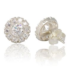 Gorgeous Old European Cut Faux Diamond Cer Earrings