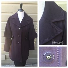 """Eggplant/Purple George Simonton Coat Brand: George Simonton Studio  Material: 100% Polyester  Size: 4 Color: Dark Purple   MEASUREMENTS: Bust: 36"""" / Sleeve: 24""""/ Length (Shoulder to hem): 35""""  CLOSET RULES & BUYER PROTECTION: No PayPal, holds, or trades. Please make reasonable offers through offer button. After purchase, all items are subject to additional photos and videotapes with date stamping and buyer closet name. George Simonton Jackets & Coats"""