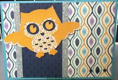 CTMH Geometric Background stamp set with Sarita paper and a cute owl from the Artbooking cartridge for Cricut http://www.facebook.com/Sheila.Stamping.Stuff