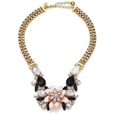 Kate Spade New York Glossy Petals Statement Bib Necklace featuring polyvore fashion jewelry necklaces apparel & accessories pastel jewelry multi layered necklace layered necklace rhinestone necklace rhinestone jewelry