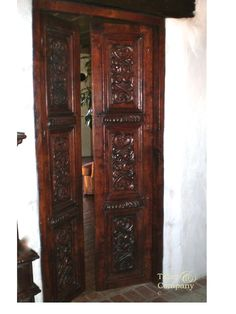 taberandcompany.com Old World Style Hand Carved Double Wood Doors Spanish Mediteranean