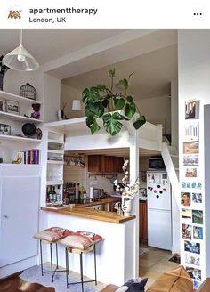 Loft Bed Plans, H&m Home, Bedroom Loft, Bathroom Design Small, Minimalist Living, Studio Apartment, Beautiful Kitchens, White Walls, Room Inspiration