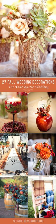 http://www.weddingforward.com/fall-wedding-decorations/?utm_source=Pinterest&utm_medium=Social&utm_campaign=FI-IncredibleIdeasForFallWeddingDecorations-20170421&utm_content=WeddingDecorations