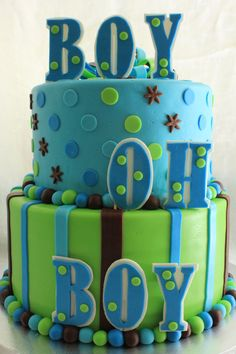 Polka dots and stripes.  Green, blue, and brown.  BOY OH BOY baby shower cake www.facebook.com/CakesByKarenInParadise