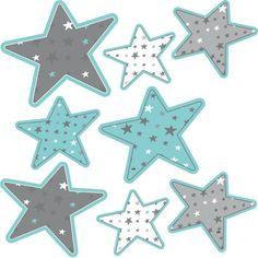 Stickers - DESIGN BY Charlotte - Stickers sept étoiles bleu