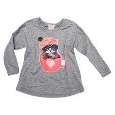 Infant Toddler Girls' Long Sleeve Kitty Tee
