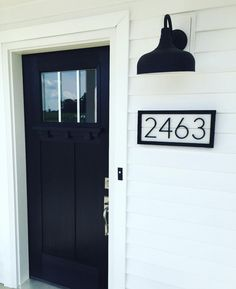 Black and White Shiplap House Numbers Address Sign Black White Exterior Houses, Grey Houses, Modern Farmhouse Exterior, Black Trim Exterior House, White Siding House, Black Exterior Doors, Exterior Paint, Exterior Colors, Gray House White Trim