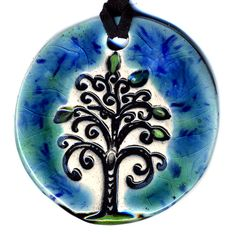 Tree Ceramic Necklace In Blue and Green by surly on Etsy, $20.00