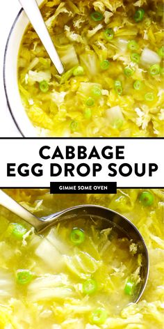 This Cabbage Egg Drop Soup recipe is made with a light sesame ginger broth, lovely egg ribbons, and lots of tender Napa cabbage. Cabbage Soup Recipes, Egg Recipes, Asian Recipes, Cooking Recipes, Vegetarian Cabbage Soup, Xmas Recipes, Recipes Dinner, Chicken Recipes, Recipes