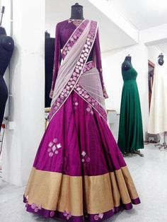 love the color not the design or outfit Half Saree Lehenga, Indian Lehenga, Indian Gowns, Indian Attire, Indian Outfits, Indian Wear, Sarees, Indian Clothes, Lehnga Dress