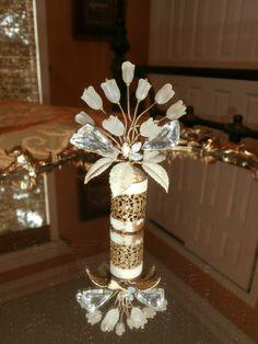 Vintage Irice Perfume Bottle Top West German Slip on Jeweled Rhinstone Perfume