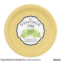 Vintage Birth Year Birthday Wine Label Paper Plate - Create a personalized party plate with the birth year of your honoree by replacing the sample year shown with your honoree's birth year. Sold at DancingPelican on Zazzle. #birthday