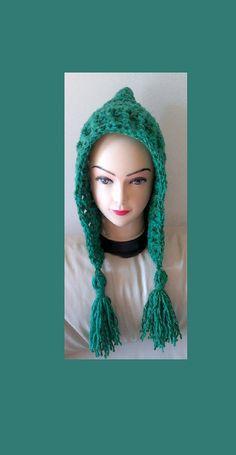 Crochet Pixie Hood Hat with tassel Pattern for door ethnicdesign