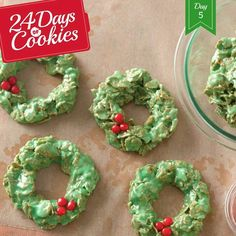 Wreath and red cinnamon cookies