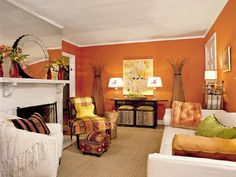 √ Best Living Room Color Schemes Ideas to Inspire Your New Space Add interest to your living room with a fresh paint color. Browse our living room color scheme ideas inspiration gallery to find living room ideas & paint colors. Living Room Color Schemes, Living Room Colors, Living Room Designs, Living Room Decor, Colour Schemes, Color Combinations, Paint Schemes, Color Palettes, Orange Rooms