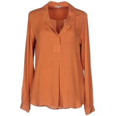 Her Shirt Blouse ($289) ❤ liked on Polyvore featuring tops, blouses, rust, silk shirt, red shirt, long sleeve blouse, red blouse and red long sleeve shirt