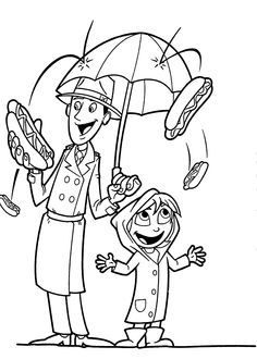 Сloudy rain of hot dogs coloring pages for kids, printable free
