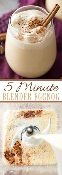 Homemade eggnog made in your blender in just 5 minutes! Rich and creamy yet surprisingly light this holiday drink packs a big punch of flavor! Christmas Drinks, Holiday Drinks, Holiday Treats, Christmas Treats, Christmas Baking, Holiday Recipes, Winter Recipes, Yummy Drinks, Yummy Food