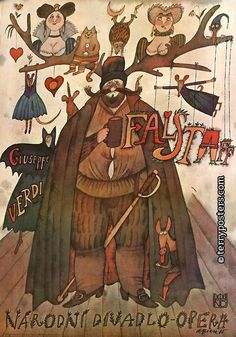Opera poster by Adolf Born, 1 9 8 Falstaff, Guiseppe Verdi. Art Deco Posters, Tour Posters, Vintage Posters, Cute Illustration, Watercolor Illustration, Ballet Posters, Opera Music, Graphic Design Posters, Concert Posters
