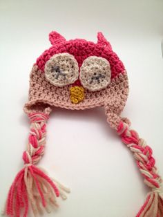 0 3 Month Baby Crochet Pink and tan Sleepy Owl Hat by Parachet Owl Hat, Little Kitty, Cute Owl, Baby Cats, Hat Making, Baby Month By Month, Owls, Crochet Baby, Fabric Design