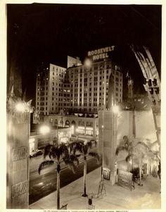 Vintage 1933 Roosevelt Hotel Hollywood at Night Chinese Theater Photo   eBay