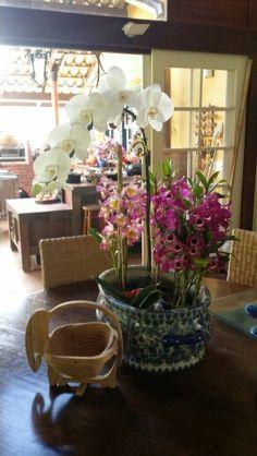 Arranjo com orquideas rosas e brancas  em Fazenda das Cachoeiras.  Patty Costa.