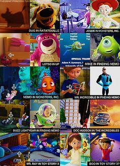 En sus películas, Pixar adelanta personajes de sus próximas producciones.   Por ejemplo, en Bucando a Nemo el niño en la sala de espera del dentista lee un cómic de Mr. Incredible, y una versión no antropomorfizada de Luigi de Cars pasa en una de las escenas finales.