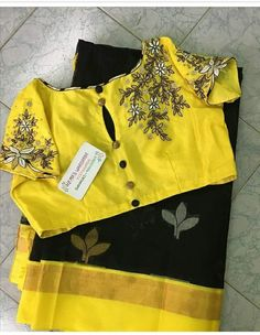 this shows balance because of the repetition of yellow being used - boat neck and slit back Saree Blouse Neck Designs, Fancy Blouse Designs, Boat Neck Saree Blouse, Stylish Blouse Design, Designer Blouse Patterns, Design Patterns, Collor, Indian Sarees, Silk Sarees