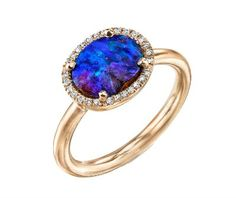 October birthstone engagement ring: Irene Neuwirth Small Oval Boulder Opal Ring with Diamonds from Ylang23, $5,850
