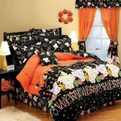 Room decor gives you an option to turn your bedroom into a happy Halloween paradise or something much more creepy. Not just for kids! Get ready to make the most wicked and wicked Halloween room. Halloween Bedroom, Halloween Home Decor, Halloween Decorations, Happy Halloween, Halloween Queen, Halloween Ideas, Halloween Quilts, Halloween Stuff, Scary Halloween