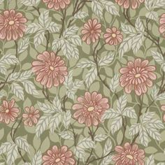 Wallpaper Zinnia green is a botanical pattern which gives the room character. A dusky green background with fresh, pink flowers. Motif Design, Art Deco Design, Print Design, Graphic Design, Vintage Floral Wallpapers, Boutique Deco, Old Wall, Green Wallpaper, Wallpaper Samples