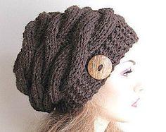 Tressé câble Slouchy bonnet Slouch chapeaux oversize Baggy câblé chapeau femmes automne hiver accessoire marron chiné tricoté à la main fait