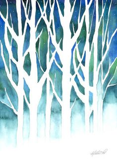 Winter SIlhouette by Kristen Fox in watercolor on Art of FoxVox Print Gallery