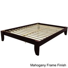Like this mahogany frame potentially with the tufted yellow headboard.  Scandinavia Standard King-size Platform Bed | Overstock.com