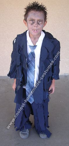 Kid's zombie costume made from thrift store suit jacket and pants. No blood! :-) http://www.coolest-homemade-costumes.com/zombie.html?utm_content=bufferd274b&utm_medium=social&utm_source=pinterest.com&utm_campaign=buffer#c1