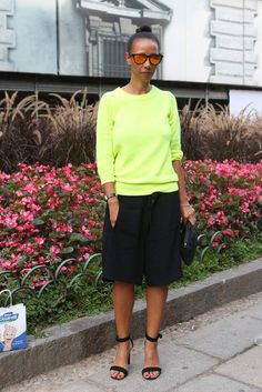 Milan street style 2013 #MFW Black shorts with neon green pullover #neon #black