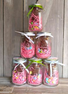 Thesee Mason Jar Easter Bunny Treats are the perfect alternative to an Easter Basket