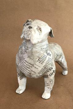 English Bulldog Unique Whimsical Paper Mache Dog Sculpture