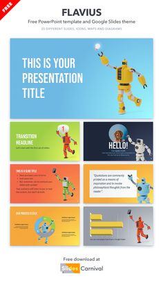 If you want to capture the attention of your audience from minute one this is the free template you are looking for. Choose from different colorful layouts and robot illustrations to make each slide unique and leave no room for boredom. Download this template now if you want to present your lessons in a fun way or give an unconventional talk on technology or science. Robot Illustration, Illustrations, Some Text, Presentation Templates, Quotations, Resume, Layouts, Science, Colorful