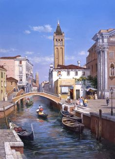 Painting by artist Mikhail Satarov from the genre of Venice - Venetian noon Venice Painting, City Painting, Beautiful Castles, Beautiful Places, Landscape Art, Landscape Paintings, Places Around The World, Around The Worlds, Best Places In Italy