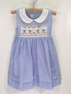Bird Song Blue Chest Smocked Dress