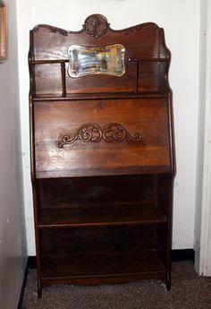 Antique Larkin Drop Front Secretary Desk with Mirror #Larkin