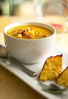 A robust pumpkin soup seasoned with sage and enhanced with apples and sausage for flavor and texture