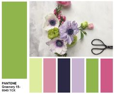For PANTONE Greenery. Combine all shades of spring flowers: from pale pink, light purple, pale yellow, sky blue, strawberry-pink to bright fuchsia and orange. Colour Schemes, Color Trends, Color Patterns, Color Combos, Color Of The Year 2017 Pantone, Pantone Color, Pantone Greenery, Web Design, World Of Color