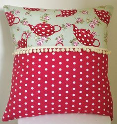 Teapots cushion pillow cushion shabby chic by PoppyRoseVintage, $16.00