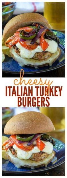 The juiciest turkey burger recipe you will ever t… Cheesy Italian Turkey Burgers. The juiciest turkey burger recipe you will ever try! Italian Turkey Burger Recipe, Turkey Burger Recipes, Turkey Burgers, Chicken Recipes, Italian Burger, Hamburger Recipes, Veggie Burgers, Stuffed Burger Recipes, Gourmet Burgers