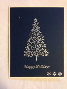 Handmade card, Christmas, Christmas tree, blue, happy holidays, snowflake punch