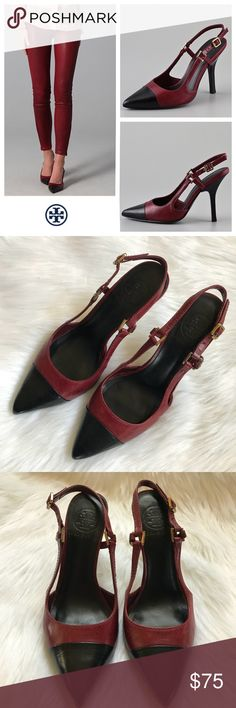 """Tory Burch felicity sling back pumps, size 6.5 GUC Tory Burch felicity sling back pumps, size 6.5 GUC!   These leather pumps feature metal logo links at the buckled sling-back strap and a contrast cap at the pointed toe. Stacked heel and leather sole. 4"""" heel. Tory Burch Shoes Heels"""