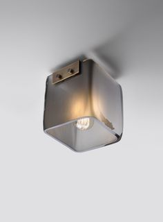 Cambridge Ceiling mount with mouth blown Frosted Smoke glass shade and Light Antique brass mounting.  www.fuselighting.com