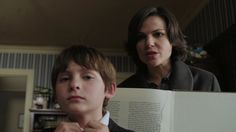 """Regina questions Henry about the missing pages in his book of fairy tales...""""The Thing You Love Most"""" episode"""
